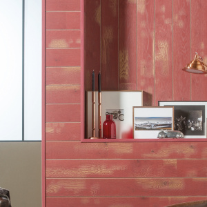 red stained oak wall panels