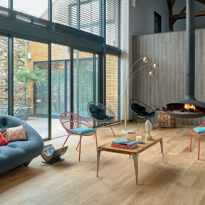 living room with panaget wood floors