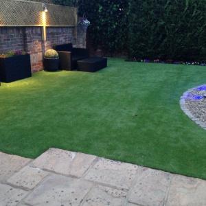patio and artificial grass