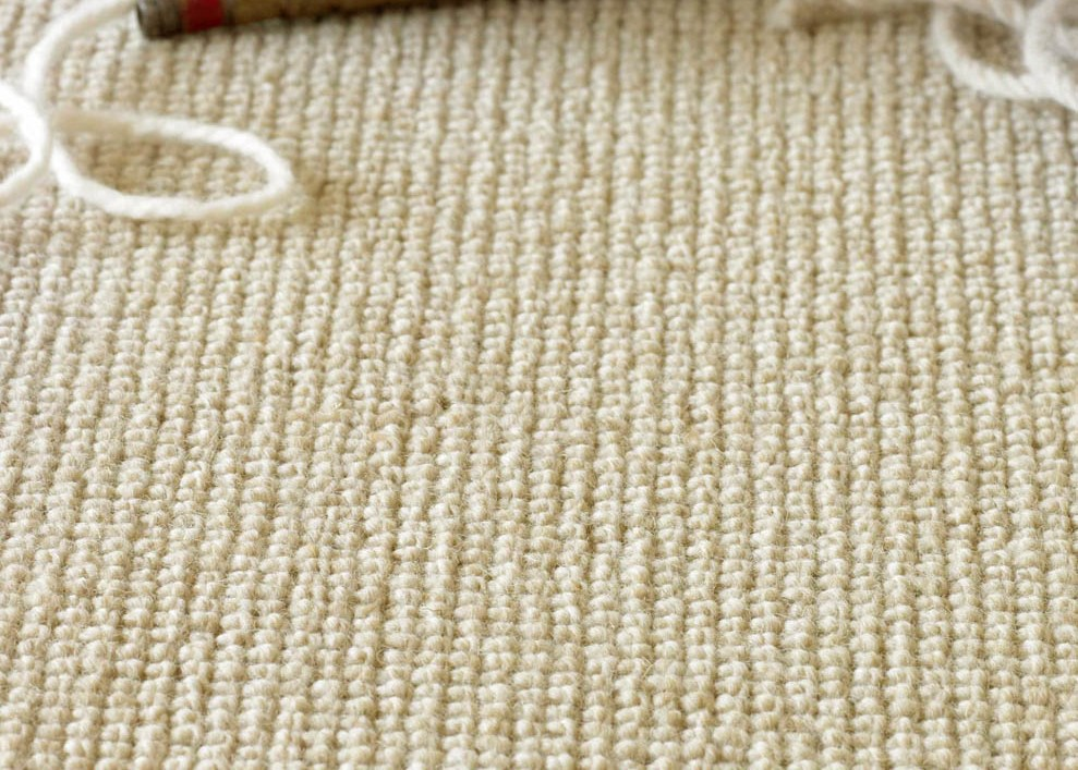 close up of wool loop carpet